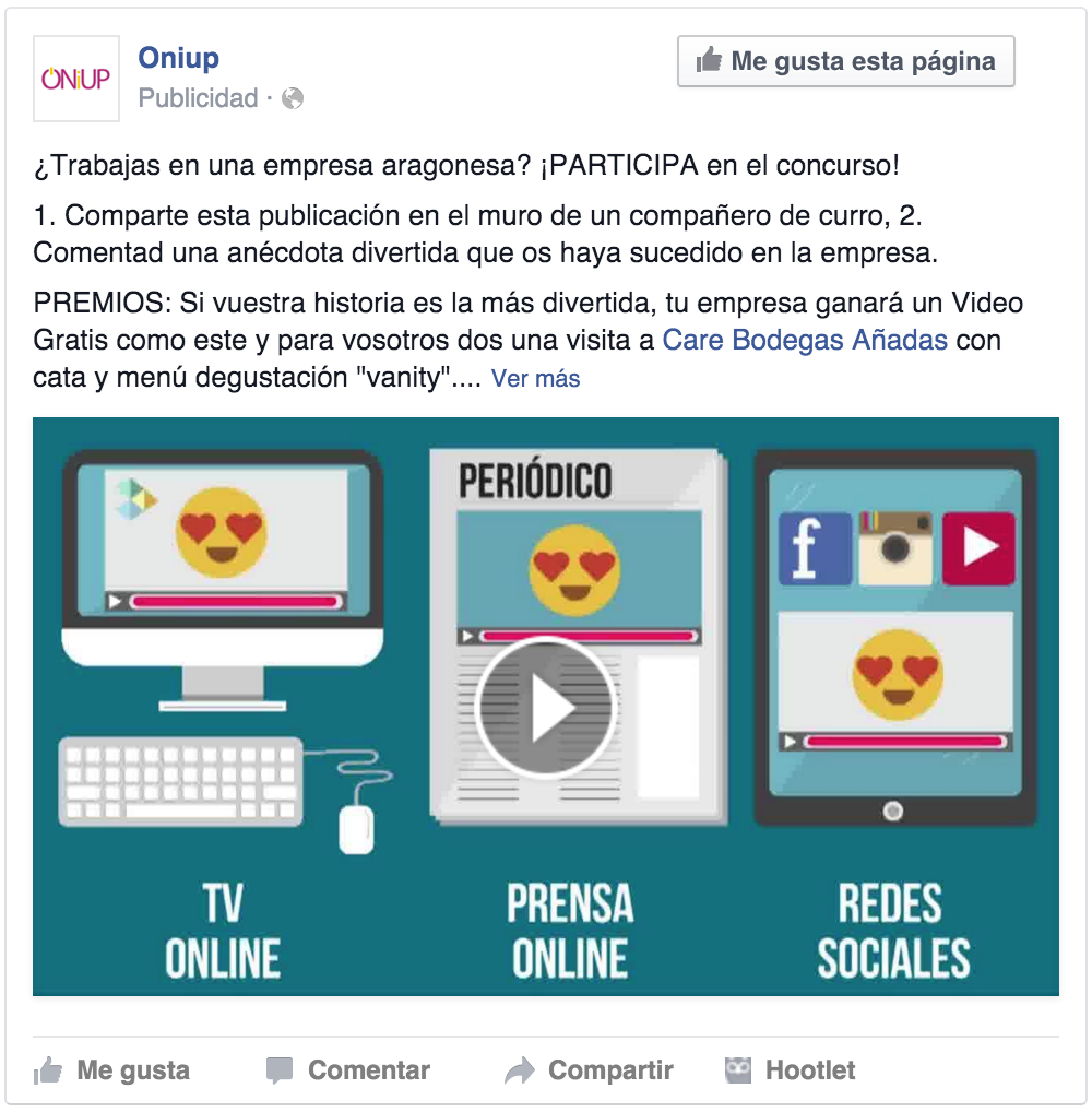 Captura de publicacion en Facebook